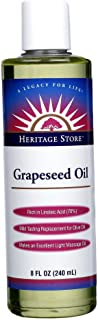 Heritage Store Massage Oil, Grapeseed, 8 Ounce