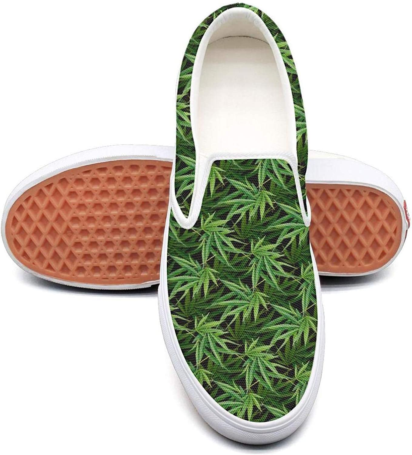 Sernfinjdr Women's Best Cannabis Leaf Green Fashion Casual Canvas Slip on shoes Cute Running Sneakers
