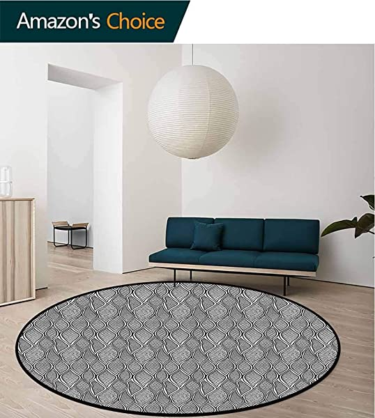 Reptile Art Deco Pattern Non Slip Washable Round Area Rug Monochrome Snake Skin Look Non Slip Living Room Soft Floor Mat Round 31