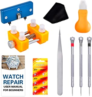 Watch Battery Tool Kit, Cridoz Watch Back Remover Tools with Watch Opener, Watch Holder, Watch Screwdrivers, 377 Watch Bat...