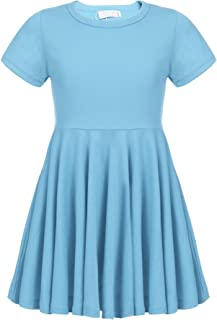 Arshiner Girls Dress Short Sleeve A Line Swing Skater Twirly Hem Dress 2-12 Years