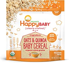 Happy Baby Organic Clearly Crafted Cereal Whole Grains Oats & Quinoa, 7 Ounce Bags (6 Count) Organic Baby Cereal in a Resealable Pouch with Iron to Support Baby's Brain Development