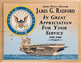 Broad Bay US Navy Retirement Plaque Gift Official Navy Vet Personalized Service Appreciation Award Made in United States