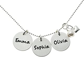 Three Musketeers Personalized Sterling Silver Charm Necklace with three 0.625 inch Sterling Silver Discs Hung Together with a Swarovski Pearl and Sterling Silver Heart on a Sterling Silver Chain.