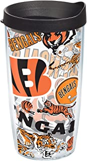 Tervis NFL Cincinnati Bengals All Over Tumbler with Wrap and Black Lid 16oz, Clear