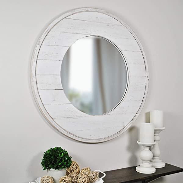 FirsTime Co 70021 Ellison Shiplap Accent Wall Mirror 27 Aged White