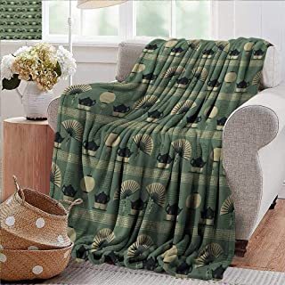 PearlRolan Soft Cozy Throw Blanket,Tea Party,Chinese Culture Inspired Tea Time Lantern Teapot and Fan Oriental,Reseda Green Black Cream,Couch/Bed,Super Soft and Warm,Durable Throw Blanket 35