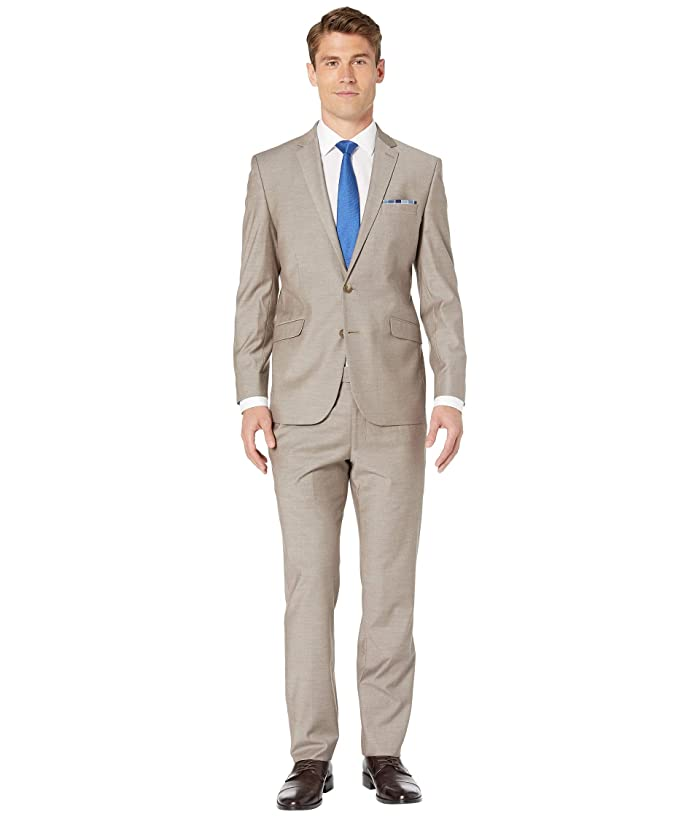 Kenneth Cole Reaction  Solid Slim Fit Stretch Performance Suit (Tan) Mens Suits Sets