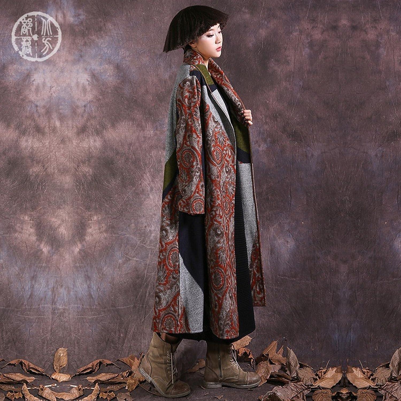 DEED Women's CoatFashion Women Fall and Winter Art Splicing Loose Jacket Coat Long Coat It Coat