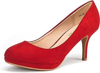 1def68de2e DREAM PAIRS Tiffany Women's New Classic Elegant Versatile Low Stiletto Heel  Dress Platform Pumps Shoes