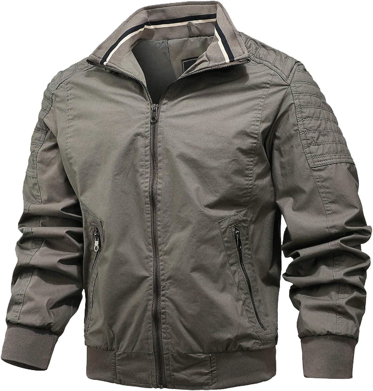 Stoota Men's Vintage Bomber Jackets, Winter Warm Turn Down Collar Zip Windproof Softshell Thicken Coat Outwear for Men