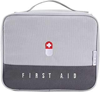 Zippered First Aid Bag Medication Organizer Emergency Empty Pouch Carrier with 5 Pockets Oxford Cloth Travel Medicine Pill...