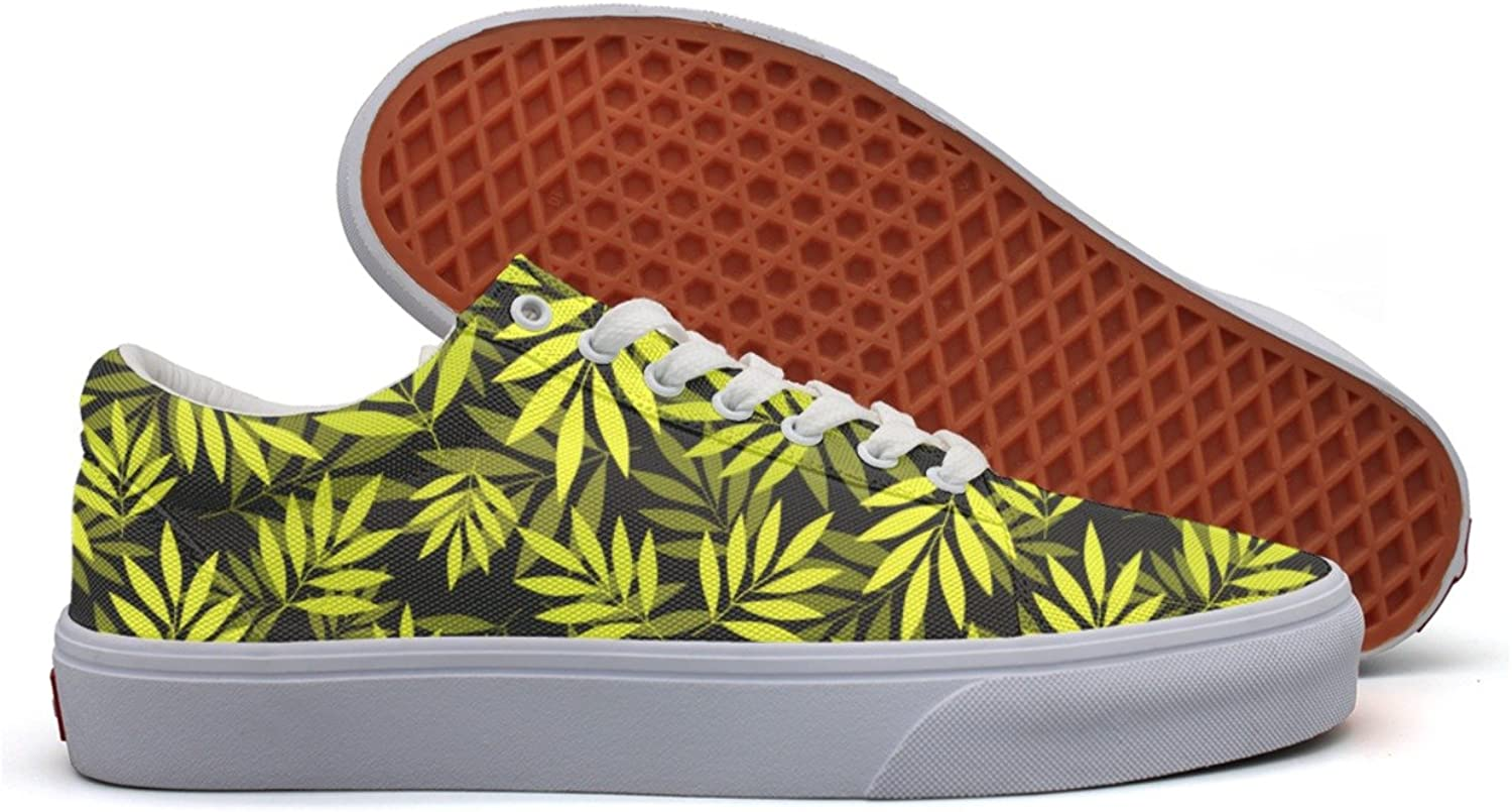 colorful Yellow Tropical Leaves Womens Casual Canvas Tennis shoes Low Top Retro Sneakers For Women's