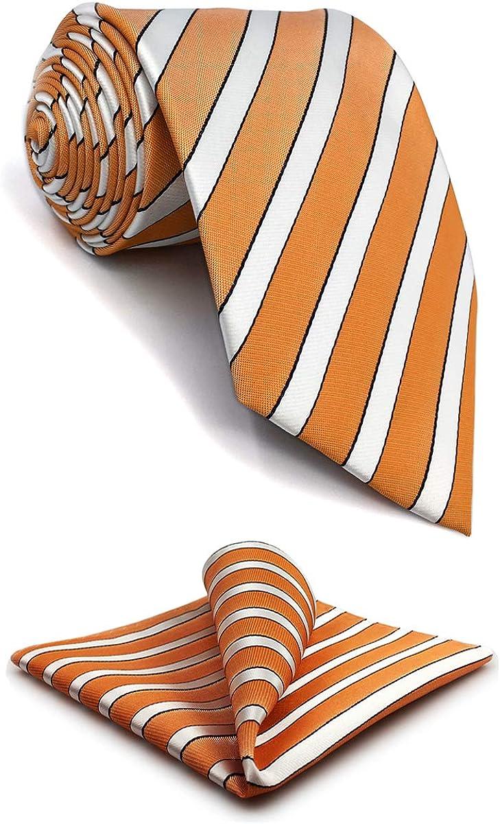 S&W SHLAX&WING Ties for Men Necktie Handkerchief Set White Orange Stripe