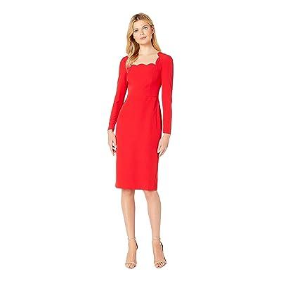 Maggy London Dream Crepe Scalloped Neck Midi Dress with Sleeve (Rose Trellis) Women