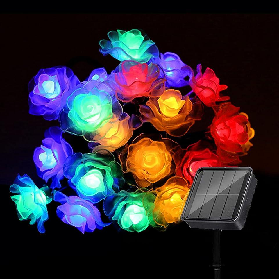 APERIL Solar Lichterkette Außen, 7M 50 LED Lichterkette Bunt 8 Modi Außer Wasserdicht Solarbetriebene Rose Lichterkette Deko für Garten, Partys, Balkon, Bäume, Terrasse, Hochzeiten