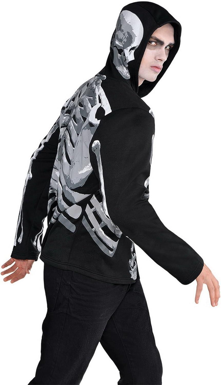 Confettery - Herren Kostüm Hoodie- Skelett- Knochen, Schwarz, One Größe B074S67QQJ Internationale Wahl  | Trendy
