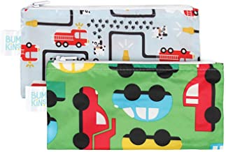 Bumkins Snack Bags, Reusable, Washable, Food Safe, BPA Free, 2-Pack – Fire Engine & On The Go