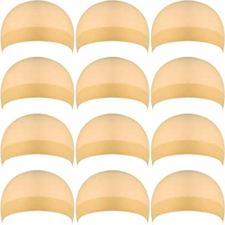 eBoot 12 Pack Nylon Wig Caps for Women and Men (Natural Beige)