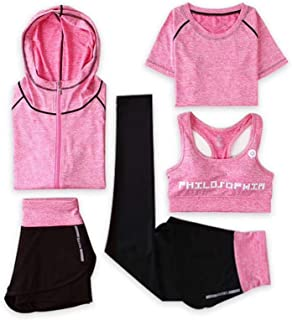 Elonglin Women's Activewear Sets 5pcs Sport Suits Fitness Yoga Running Athletic Tracksuits
