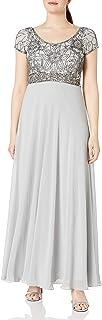 J Kara Women's Plus Size Long Empire Waist Dress