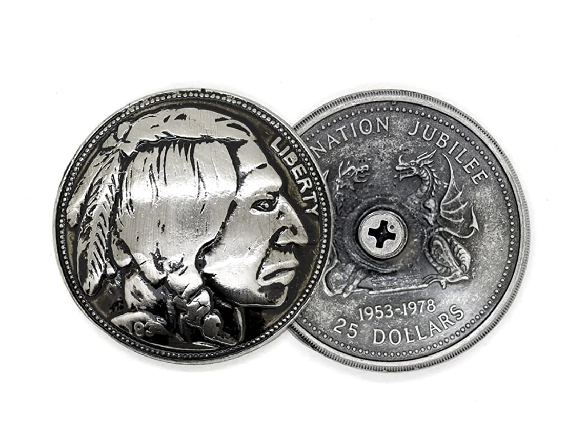 CRAFTMEmore 2PCS 1-3/8 inches Indian Head Screw Back Conchos Gaur Rodeo Cowboy Leathercraft Embellishment Buttons CHS40 (Black Silver)