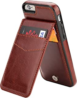 iPhone 6 iPhone 6S Case Wallet with Credit Card Holder, KIHUWEY Premium Leather Magnetic Clasp Kickstand Heavy Duty Protective Cover for iPhone 6/6S 4.7 Inch (Brown)