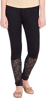 American-Elm Women's Viscose Designer Lace Legging- Pink (28)
