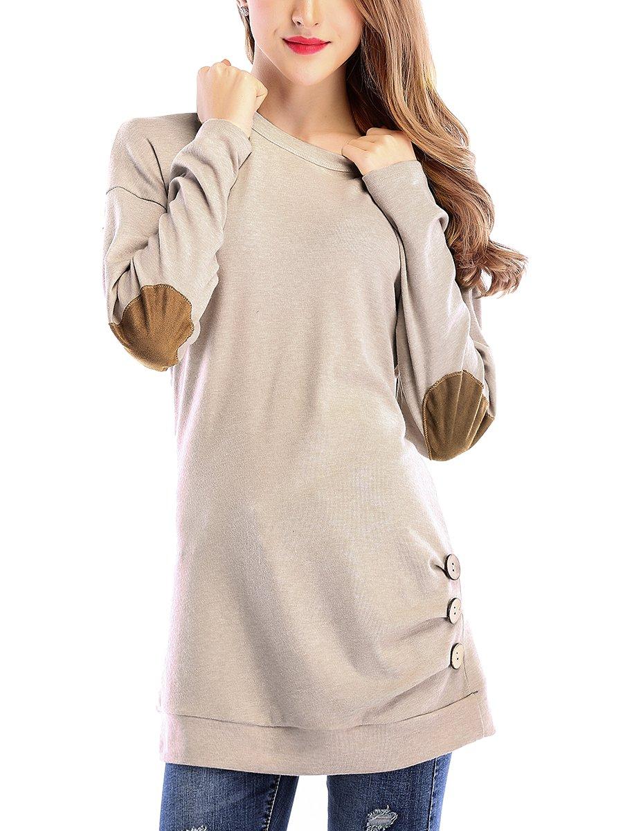 St. Jubileens婦人向けカジュアルシャツ長袖ラウンドネックルーズチュニック外側ボタン付きブラウストップ