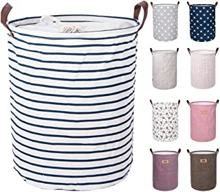 DOKEHOM 17.7-Inches Large Laundry Basket (9 Colors), Drawstring Waterproof Round Cotton..
