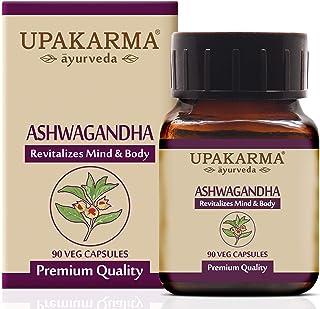 Upakarma Ayurveda Ashwagandha Capsules (Withania Somnifera) 1000 Mg Standardized Extract, 90 Veg Capsules, 1.5 Month Suppl...