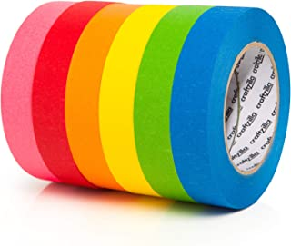 Craftzilla Colored Masking Tape - 6 Pack of 60 Yards x 1 inch Rainbow Color Craft Paper Tape - Colorful Teacher Tape for A...
