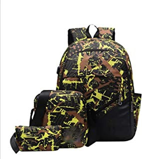 Casual Backpack,Waterproof with USB Charging Port Backpack,High-Capacity Travel Backpack 3 Piece Set for Teenagers Yellow