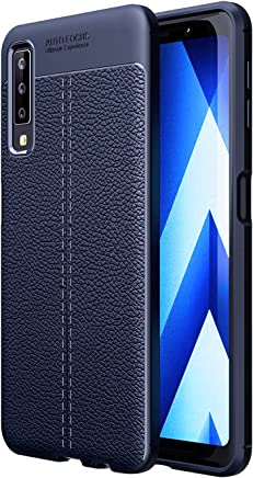 Golden Sand Shock Proof Armor Leather Texture TPU Back Cover Case Blue for Samsung Galaxy A7
