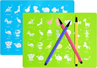 Food Grade Silicone Placemats for Kids, Baby Educational Placemat with Animal Printing(16 x 12 Inches), Waterproof, Non Slip, Portable, Heat Resistant, Dishwasher Safe, BPA Free, Set of 2