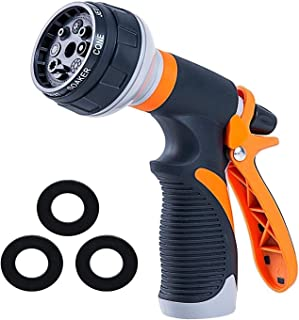 Garden Hose Nozzle | Hose Spray Nozzle | Water Hose Nozzle Sprayer | Heavy Duty 8 Adjustable Watering Patterns, Slip and Shock Resistant for Watering Plants, Cleaning, Car Wash and Showering Pets