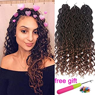 6Pcs/Lot Goddess Faux Locs Crochet Hair Curly Wavy Braiding Hair Deep Wave Dreadlocks Synthetic Hair Extension Havana Mambo Passion Twist Crochet Hair 24 Strands/Pack(T1B/30#)