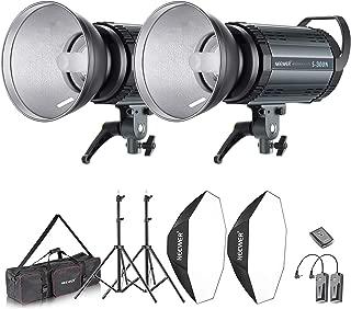 Neewer 600W Photo Studio Strobe Flash and Softbox Lighting Kit: (2)300W Monolight Flash(S-300N),(2)Reflector Bowens Mount,(2)Light Stand,(2)Softbox,(2)Modeling Lamp,(1)RT-16 Wireless Trigger,(1)Bag