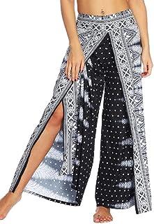 MK988 Women's Casual Boho Yoga Split Loose Wide Leg Palazzo Lounge Pants