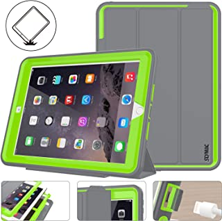 SEYMAC Stock New iPad 9.7 inch 2018/2017 Case, Three Layer Smart Magnetic Auto Sleep/Wake Cover Hybrid Leather with Stand Feature for Apple iPad 2017/2018 Release Model a1822/ a1823 (Gray/Green)