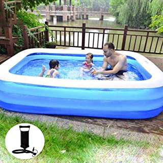 8888 Inflatable Swimming Pools with Air Pump, Inflatable Kiddie Pools, Family Swimming Pool, Swim Center for Kids, Babies, Adults,Toddlers, Outdoor, Garden, Backyard (71.25x55.51x18.11'')