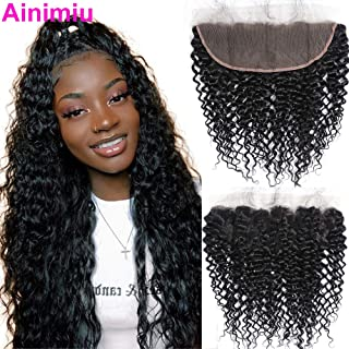 9A Brazilian Virgin Hair Curly Wave 13x4 Lace Frontal with Baby Hair Free Part Unprocessed Human Hair Natural Black Pre Plucked Hair Line Jerry Curly Ear To Ear Closures (12