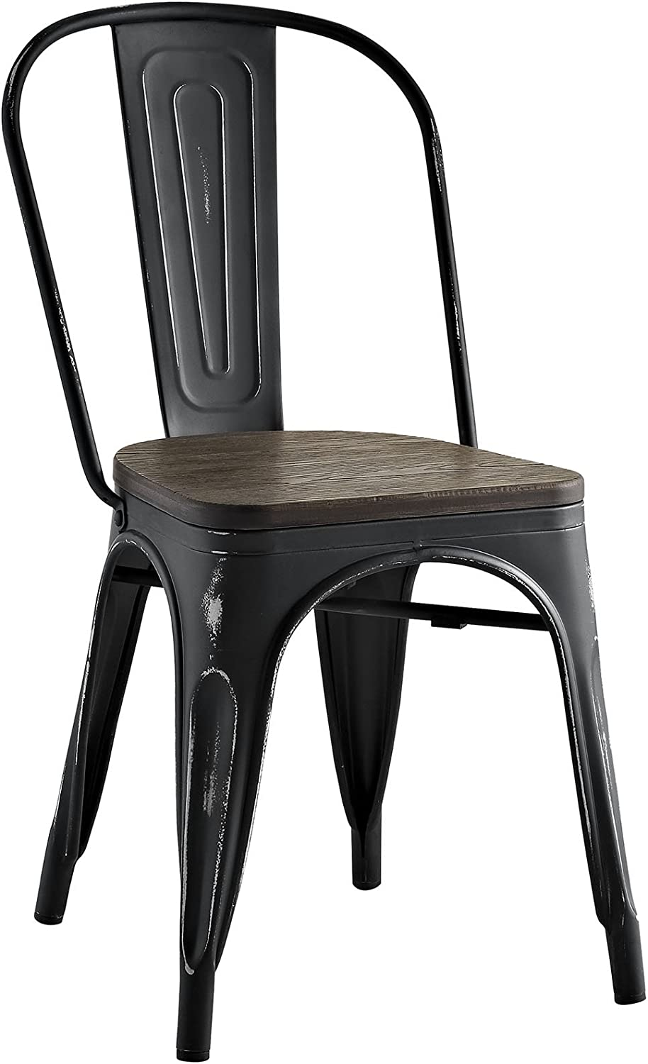 Modway Promenade Stackable Modern Aluminum Bistro Dining Side Chair With Bamboo Seat in Black