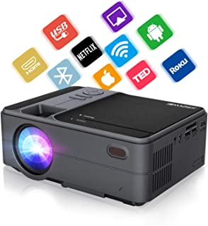 Mini Projector 3600 Lumen LED Smart HD WiFi Video Projector 720P Native Bluetooth HDMI USB, Wireless Home Projector Suppor...