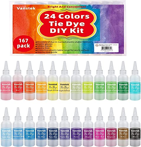 Vanstek Tie Dye DIY Kit 24 Colors Tie Dye Shirt Fabric Dye for Women Kids Men with Rubber Bands Gloves Plastic Film and Table Covers for Family Friends Group Party Supplies