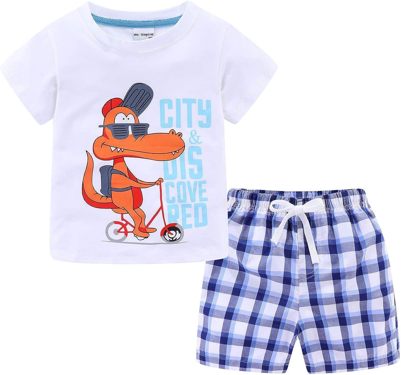 LittleSpring Little Boys Summer Outfits Short Sleeve T-Shirts and Shorts Set