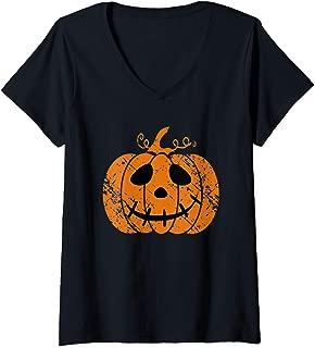 Womens Vintage Halloween Pumpkin Face Jack-O-Lantern Cute Costume V-Neck T-Shirt