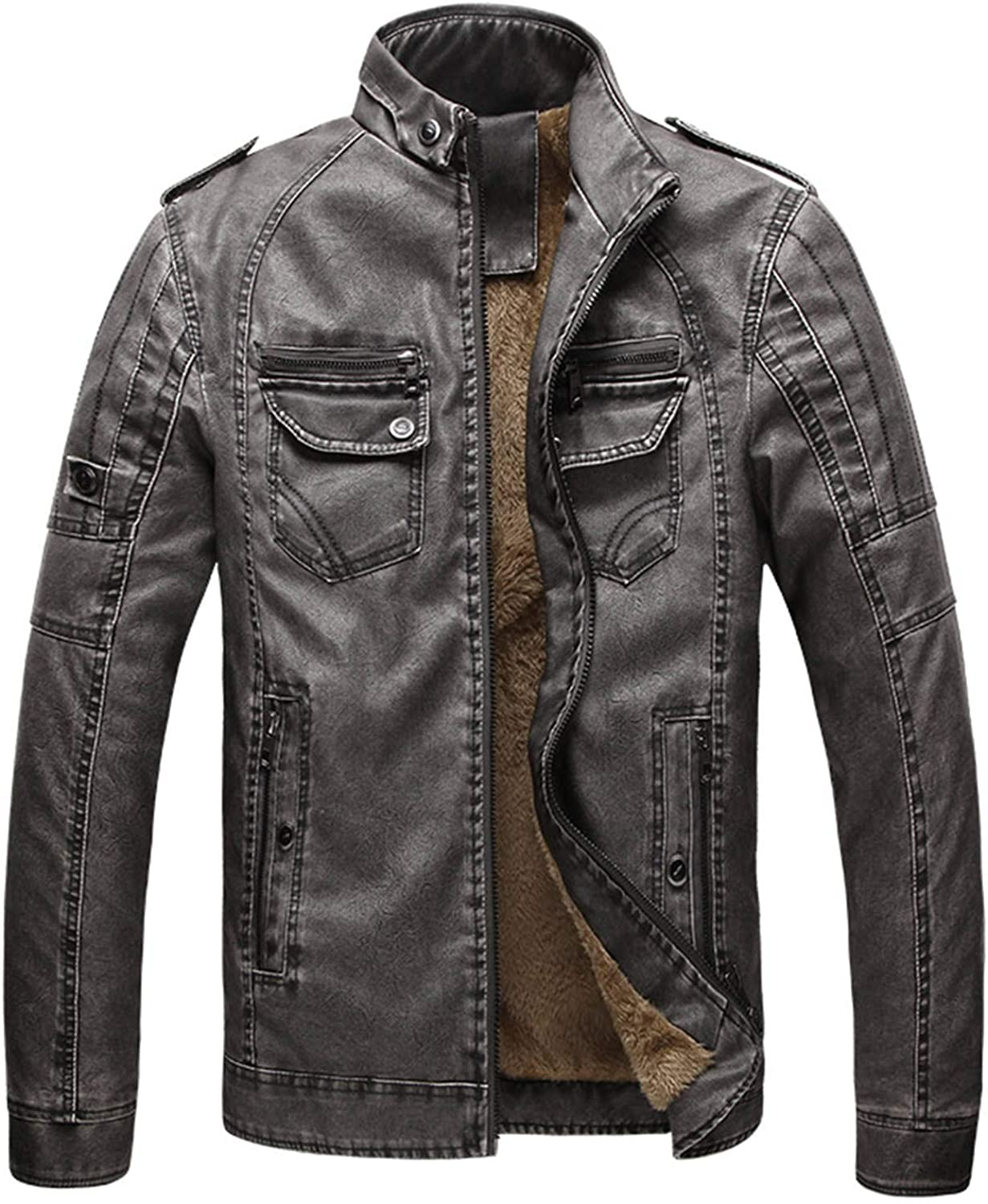 Soluo Men's Stand Collar Fleece Lined Bomber Faux Leather Jacket Outwear Coat (Gray,X-Large)