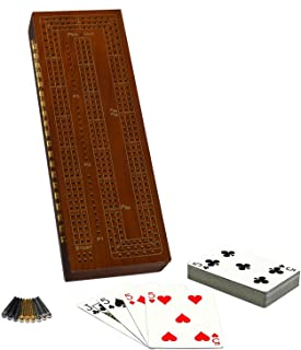 WE Games 3 Player Wood Cribbage Set - Easy Grip Pegs and 2 Decks of Cards Inside of Board - Walnut Stained