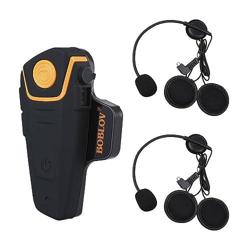 Boblov BT-S2 Intercom Moto Casque Moto Bluetooth Oreillette Bluetooth Moto Interphone BT 1000M FM (Lot de 1,1 Écouteur Supplémentaire)